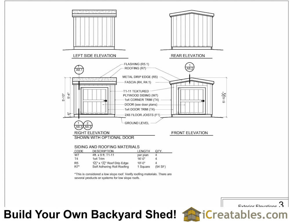 6x6 6 foot tall shed plan elevations