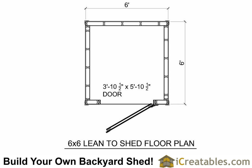 6x6 lean to shed floor plan