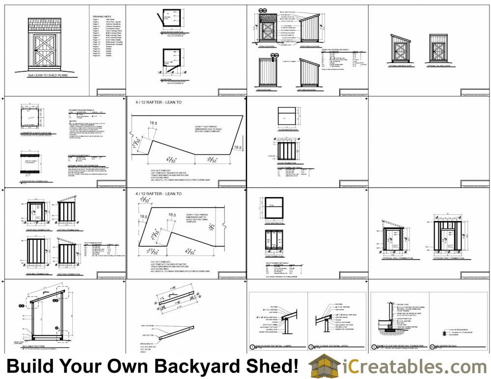 6x6 lean to shed plans example