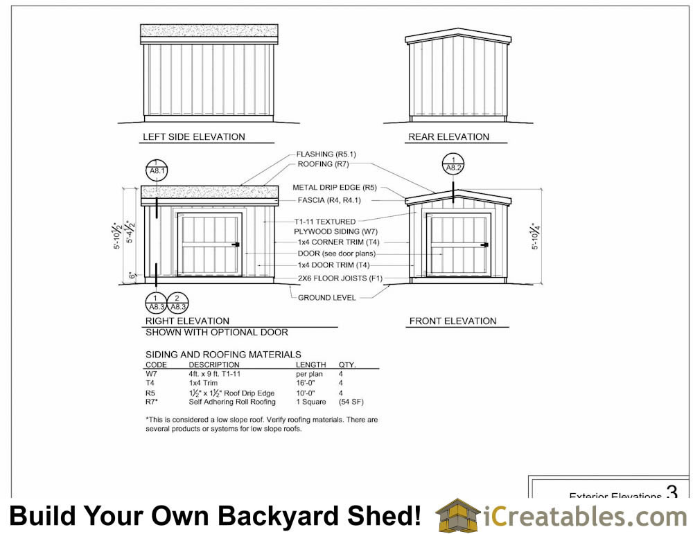 6x8 6 foot tall shed plan elevations