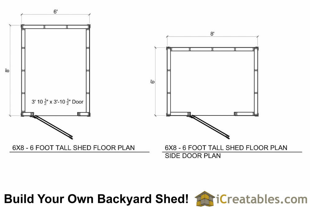6x8  foot tall shed plan floor plan