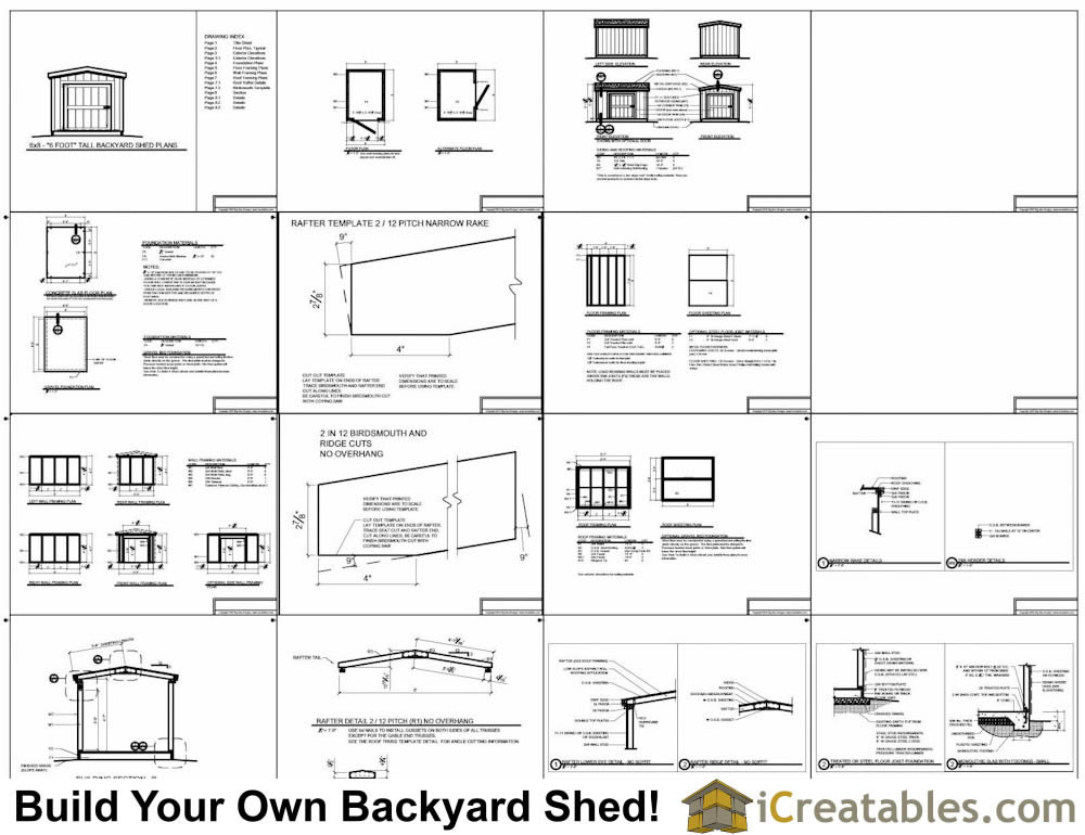 6x8 short backyard homeowner association Shed With 8 Foot Walls Plans Example
