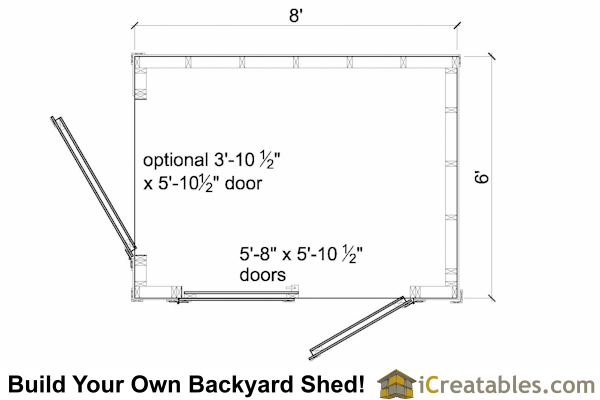 6x8 lean to shed floor plan