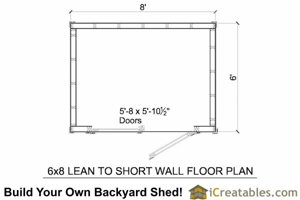 6x8 lean to shed with short walls floor plan