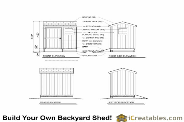 6x8 storage shed exterior elevations
