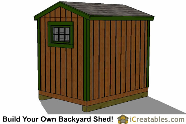 6x8 shed plans right rear view
