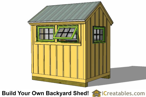 6x8 greenhouse shed right rear view