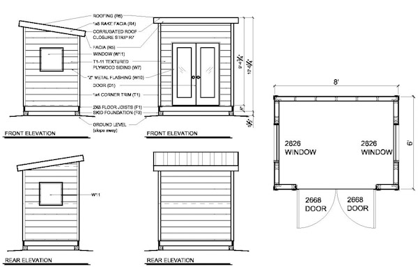 shed plans for a 6'x 8' modern shed that can be used as a office shed