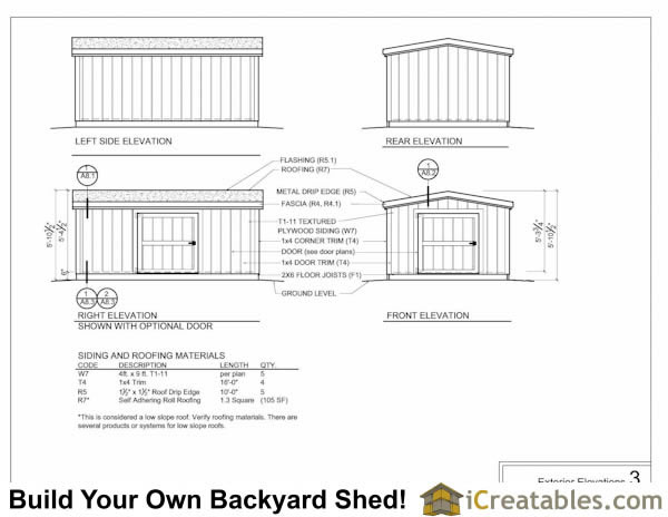 8x8 6 foot tall shed plan elevations