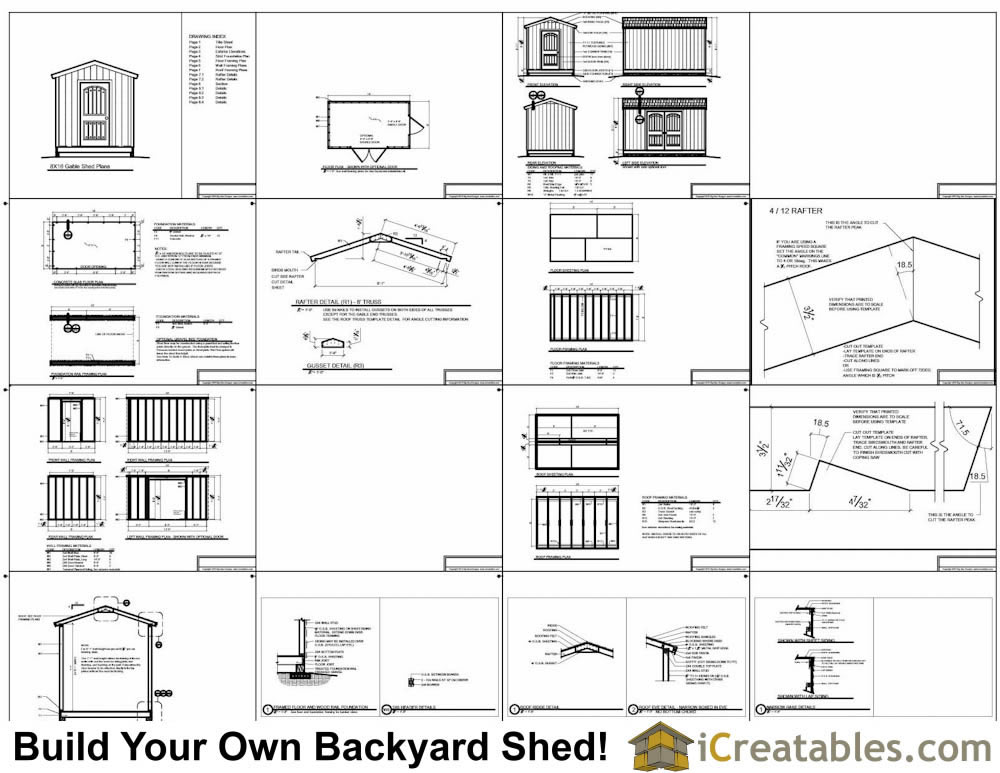 8x14 gable shed plans example