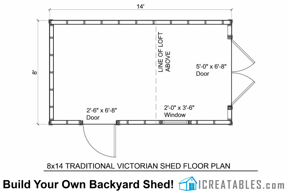 8x12 traditional victorian shed floor plans