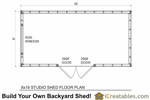 8x16 modern shed floor plans