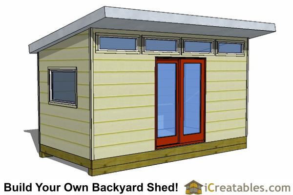 8x16 modern shed plans studio shed office shed plans for Contemporary shed plans