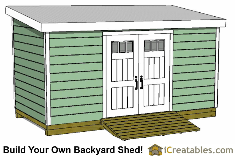 8x20 lean to shed with door on short wall