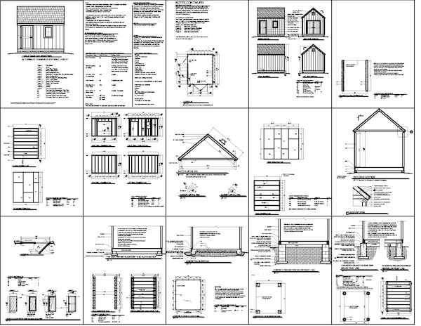 Building plans for a 8'x 8' Cape Cod style storage shed for your yard