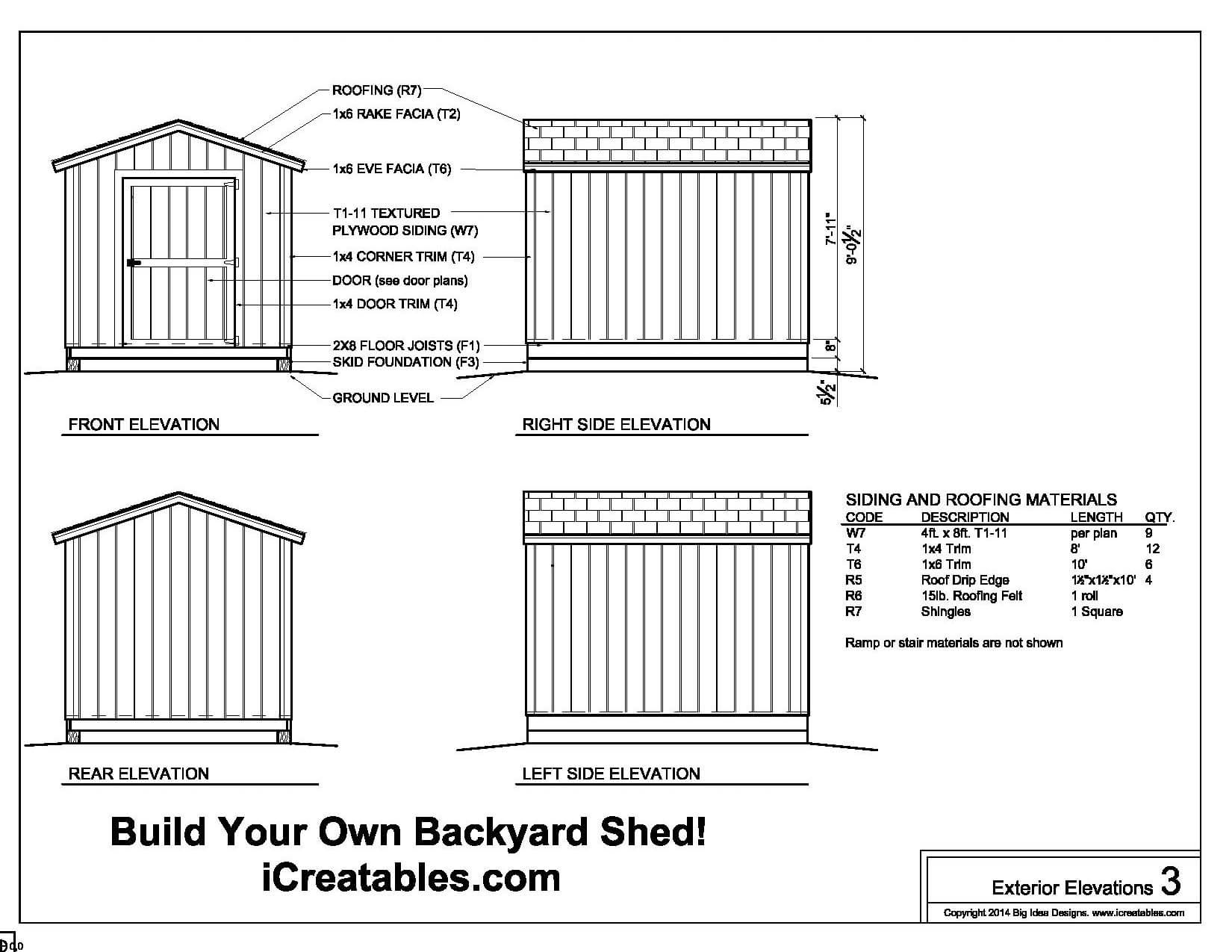 Nice shed plans and material list 6 8x10 g gable shed for Shed plans and material list