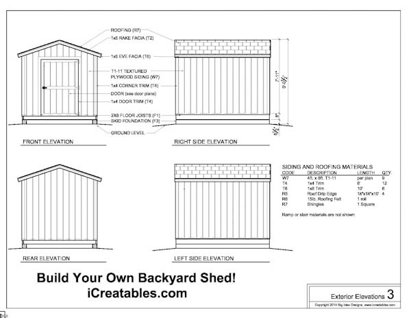 Free 8x10 Shed Plans Exterior Elevations