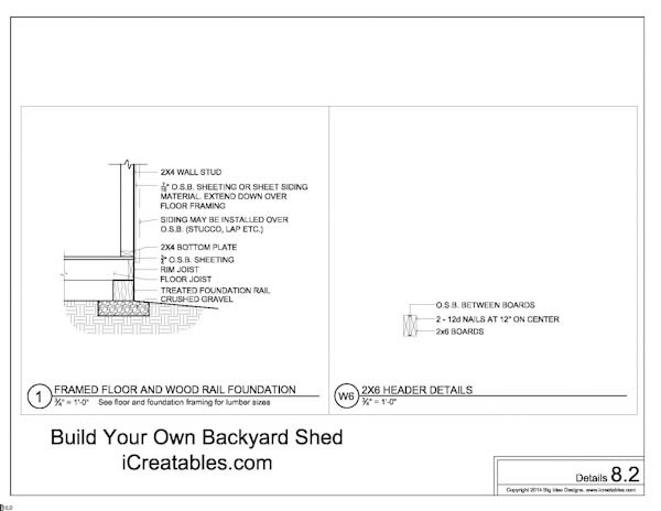 Free 8x10 Shed Plans Floor To Wall Connection Details and Door Header Construction Details