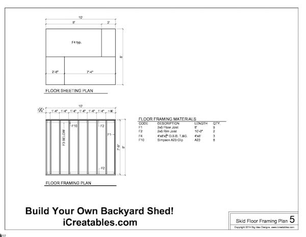 Free 8x10 Shed Plans Floor Framing Plans