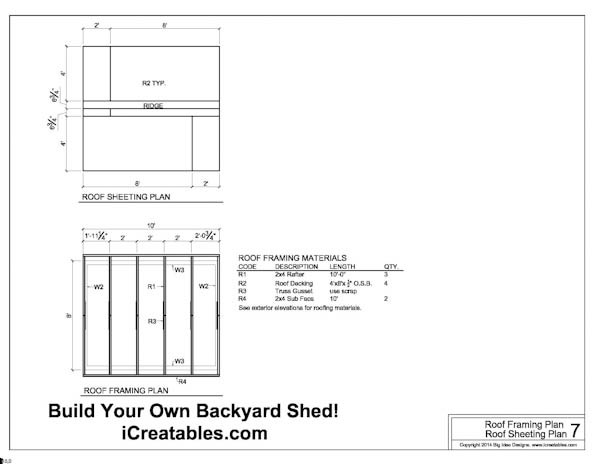 Free 8x10 Shed Plans Roof Framing Plans