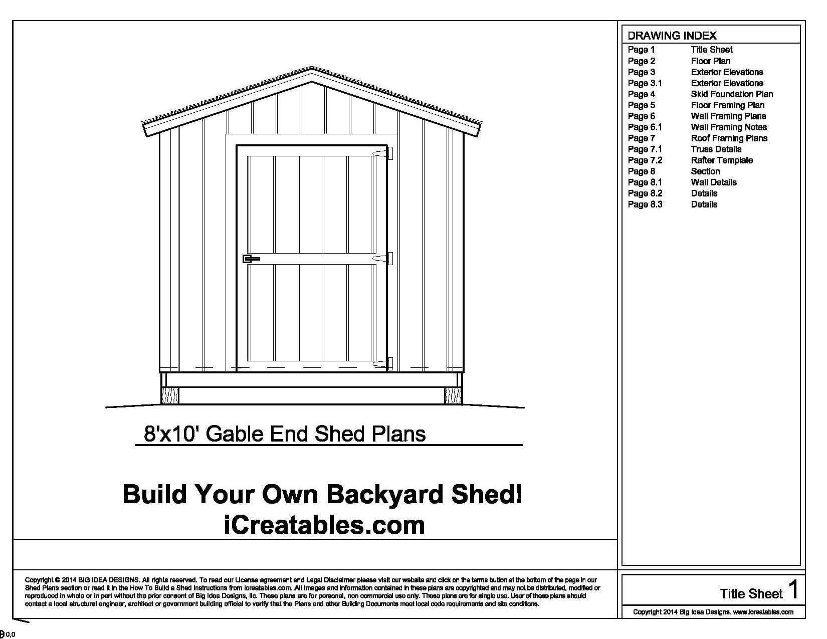 Free 8x10 Shed Plans Materials List Aluminum Storage Sheds