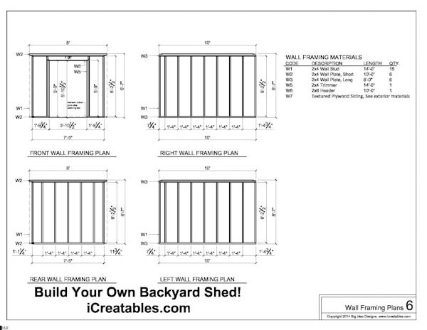 Free 8x10 Shed Plans Wall Framing Plans