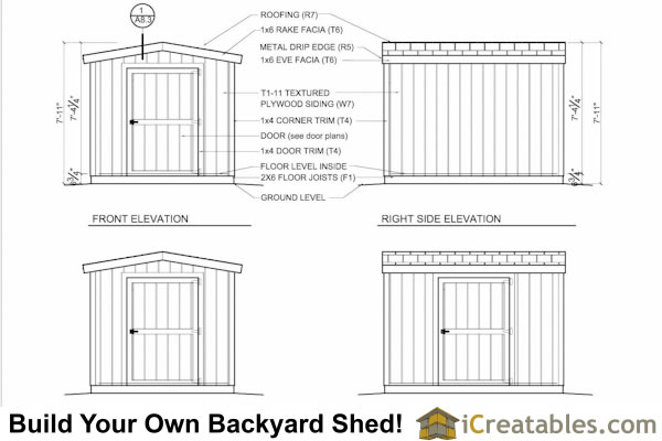 8x10 gable shed 8 feet tall exterior elevations