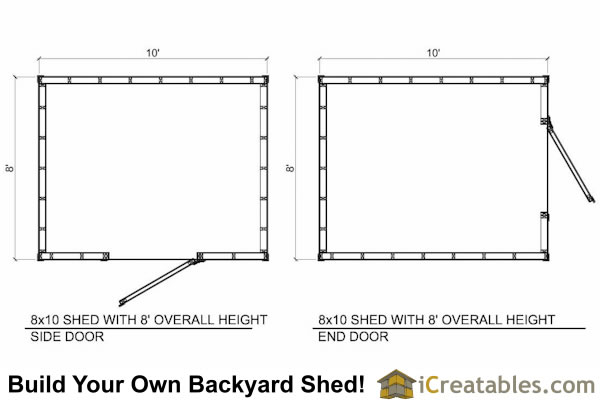 8x10 8 foot tall shed plan floor plan