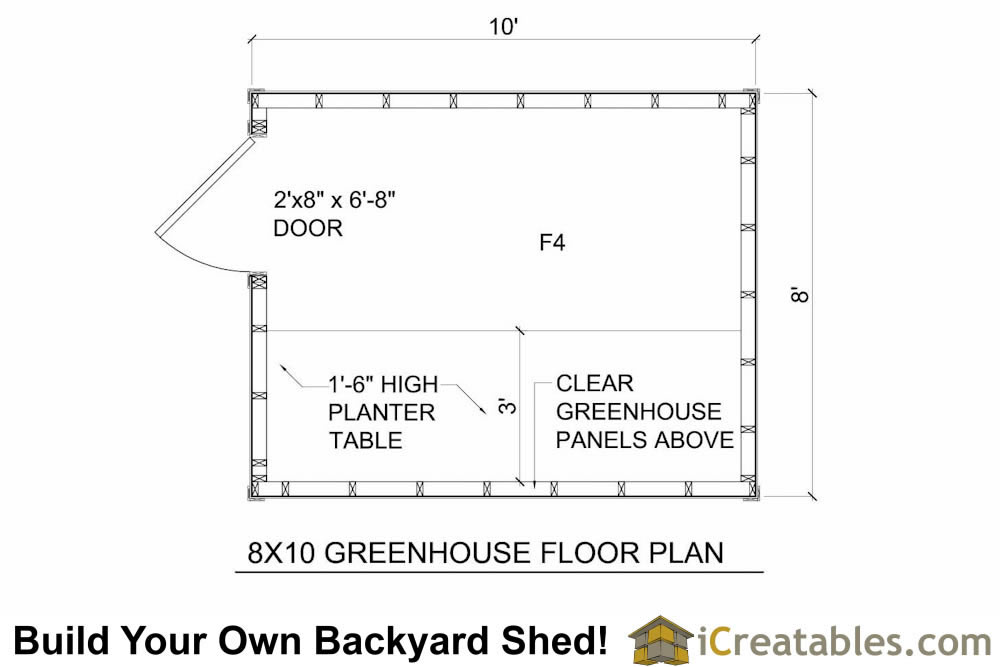 8x10 greenhouse shed floor plans