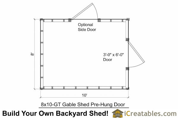 8x10 shed plan floor plan