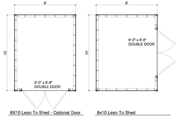 8x10 lean to shed floor plans