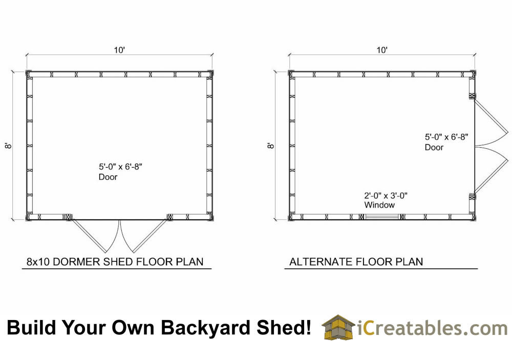 8x10 shed plans with dormer for 10 x 8 shed floor plans