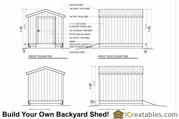 8x10 shed plans elevations