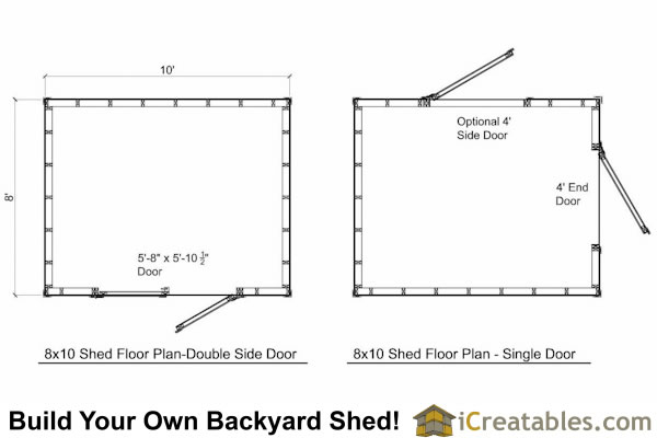8x10 shed plans storage shed build a shed for 10 x 8 shed floor plans