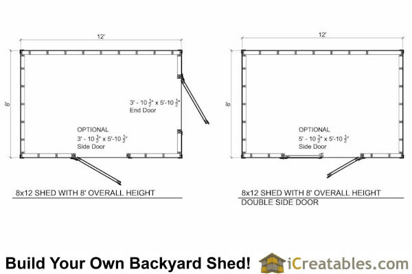 8x12 8 foot tall shed plan floor plan