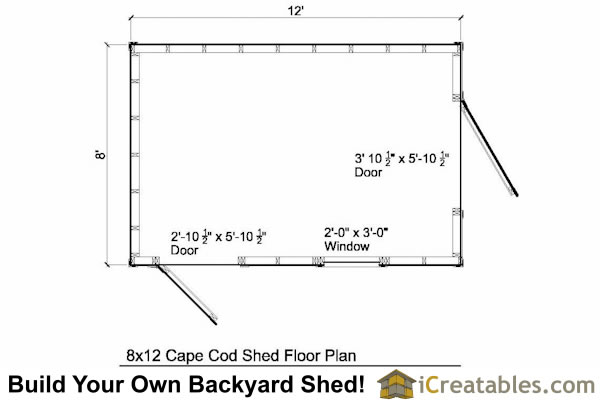 8x10 Cape Cod Style Garden Shed Floor Plans