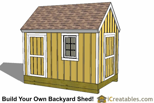 8x12 cape cod style garden shed front elevation