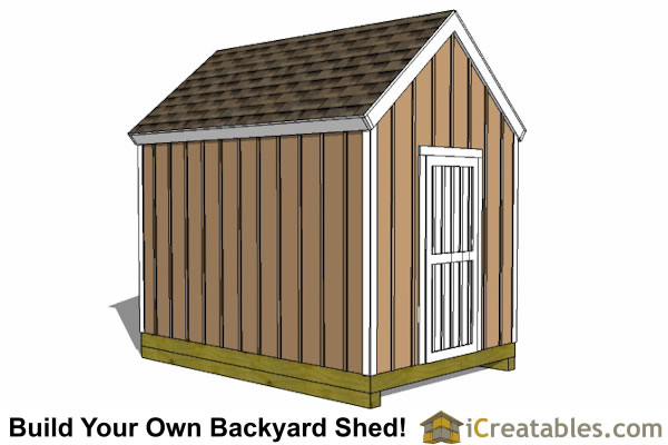 8x12 small end door shed plans