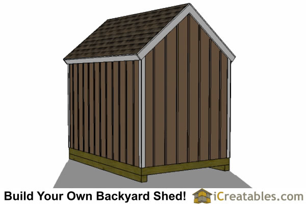 8x12 large door shed rear plans