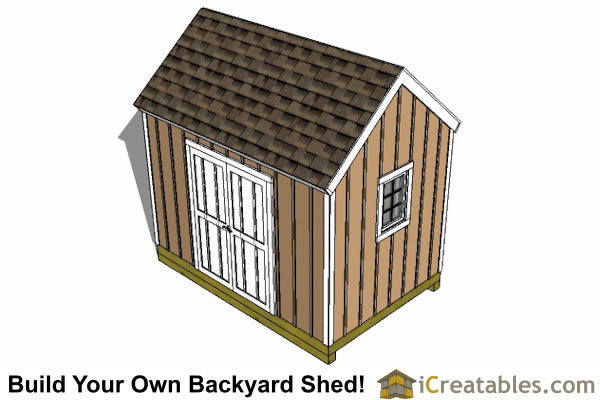 8x12 large door shed top plans