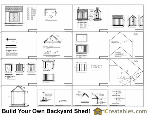 8x12 large door shed plans