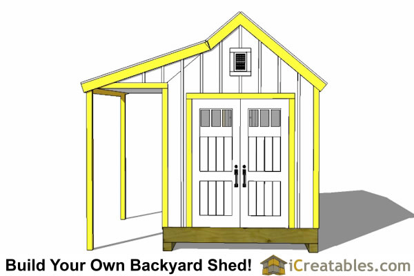 8x12 colonial shed with porch garden shed shed with porch for Cape cod shed plans