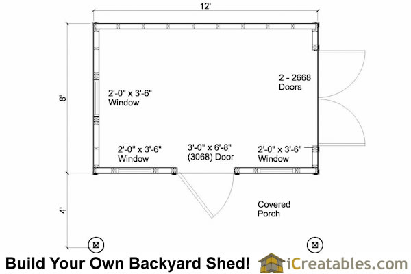 8x12 colonial garden shed floor plan