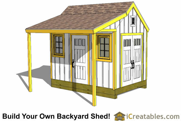8x12 colonial style  shed plans