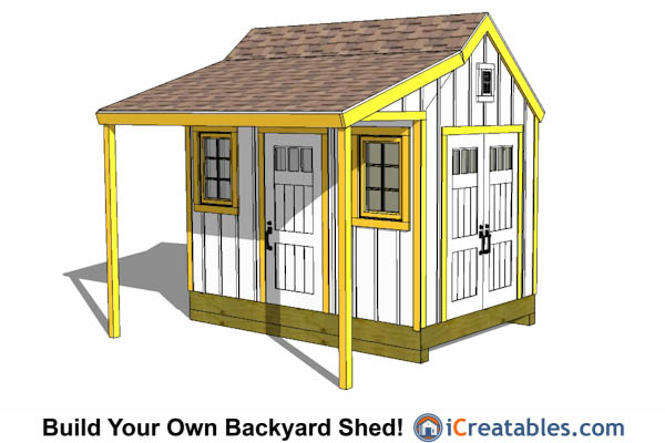 8x12 Colonial shed with porch