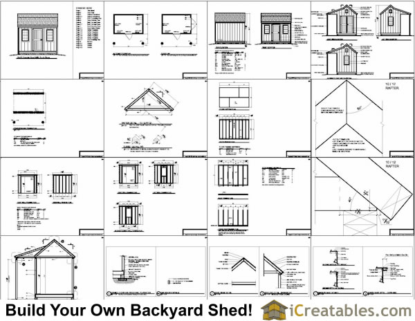 8x12 colonial shed plans with porch