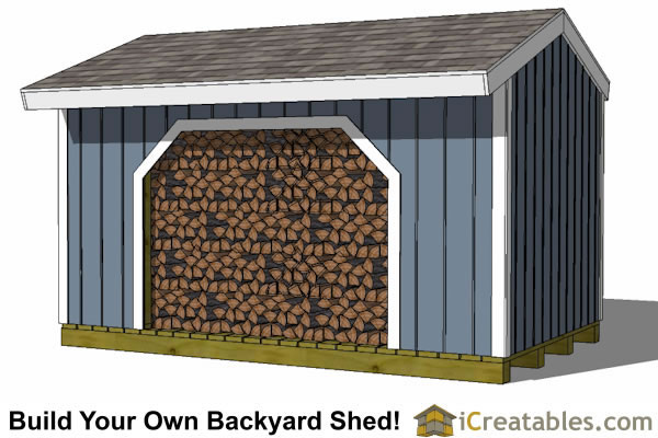 8x12 firewood shed front view with firewood storage shed plans