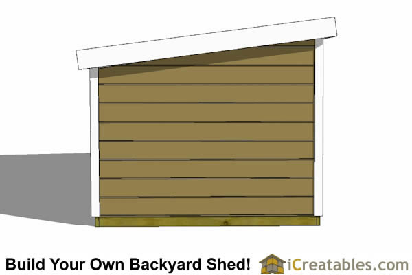 8x12 short 8 foot  lean to shed plans left