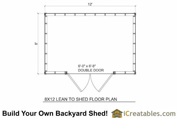 8x12 short 8 foot  lean to shed plans floor plan