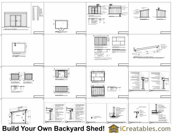 8x12 short 8 foot  lean to shed plans